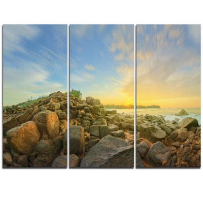Designart Untouched Romantic Beach Of Sri Lanka Landscape Artwork Triptych Canvas