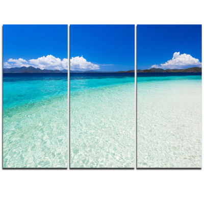 Designart Vacant Beach With Turquoise Water Seascape Triptych Canvas Art Print