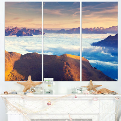 Designart Val Gardena Valley Panorama Extra LargeSeashore Triptych Canvas Art