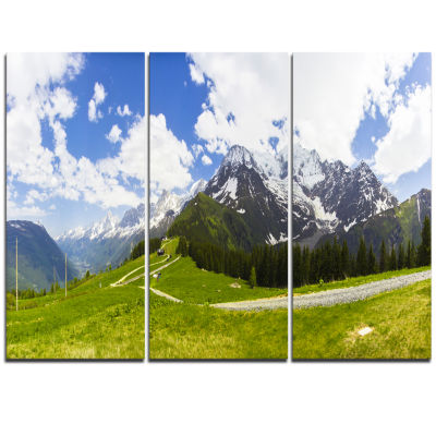 Designart Valley In French Alps Panorama LandscapeArtwork Triptych Canvas