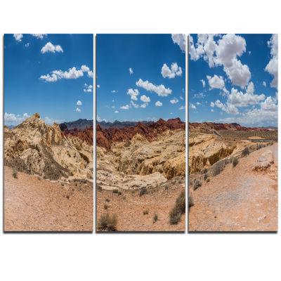 Designart Valley Of Fire Landscape Panorama Landscape Triptych Canvas Art Print