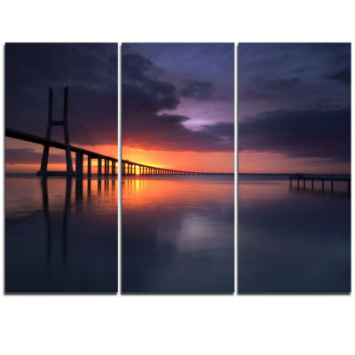 Designart Vasco Da Gama Bridge Portugal Pier Seascape Triptych Canvas Art Print