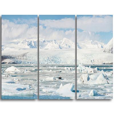 Designart Vatnajokull Glacier In Iceland LandscapeTriptych Canvas Art Print