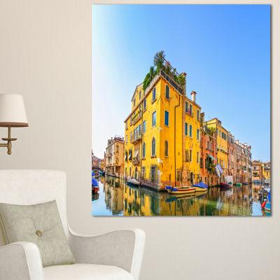 Designart Venice Cityscape Water Canal Abstract Canvas Artwork