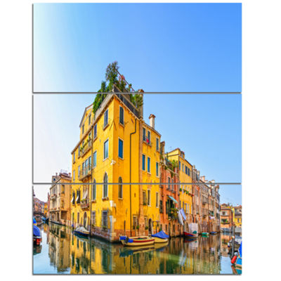 Designart Venice Cityscape Water Canal Abstract Canvas Artwork - 3 Panels