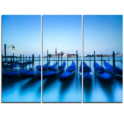 Designart Venice Gondolas At Blue Sunset Extra Large Seashore Triptych Canvas Art