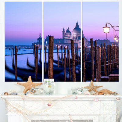 Designart Venice Sunset Panorama At Twilight ExtraLarge Seascape Art Triptych Canvas