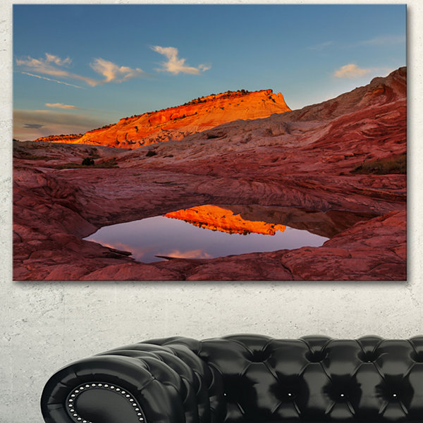 Designart Vermillion Cliffs Lake In Morning Oversized Landscape Canvas Art