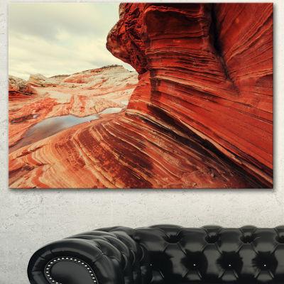 Designart Vermillion Cliffs Lake View Oversized Landscape Canvas Art - 3 Panels