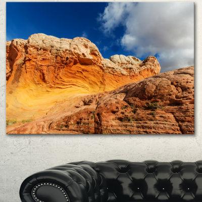 Designart Vermillion Cliffs Under Blue Sky Oversized Landscape Canvas Art - 3 Panels