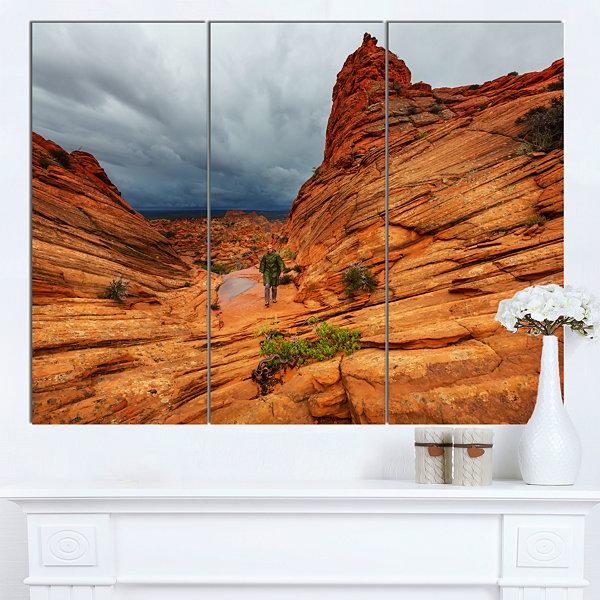 Designart Vermillion Cliffs Wilderness OversizedLandscape Canvas Art - 3 Panels