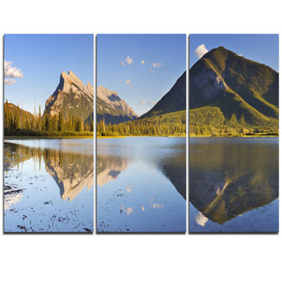 Designart Vermillion Lakes And Mount Rundle Landscape Triptych Canvas Art Print