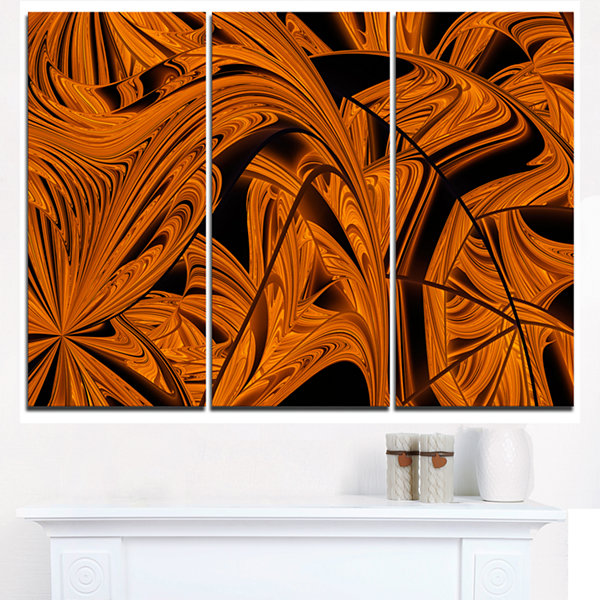 Designart Vibrant Brown Fractal Flower Pattern Oversized Abstract Triptych Canvas Art