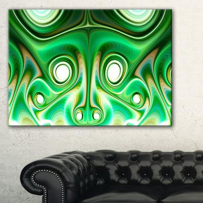Designart Vibrant Green Fractal Flower Design Large Abstract Canvas Artwork