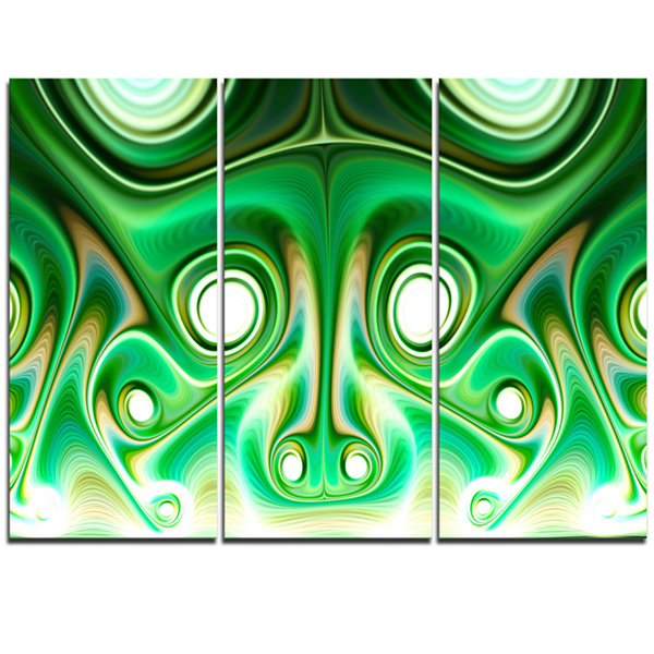 Designart Vibrant Green Fractal Flower Design Large Abstract Triptych Canvas Artwork