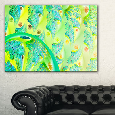 Designart Vibrant Green Fractal Flower Design Oversized Abstract Canvas Art
