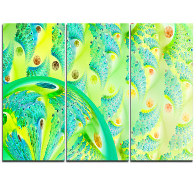 Designart Vibrant Green Fractal Flower Design Oversized Abstract Triptych Canvas Art