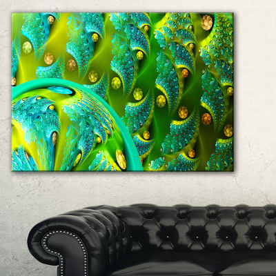 Designart Vibrant Green Fractal Flower Pattern Oversized Abstract Canvas Art