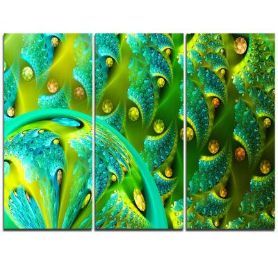 Designart Vibrant Green Fractal Flower Pattern Oversized Abstract Triptych Canvas Art