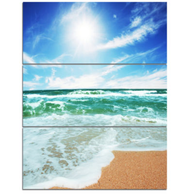 Designart Vibrant Summer Sea At Daylight Modern Beach Triptych Canvas Art Print