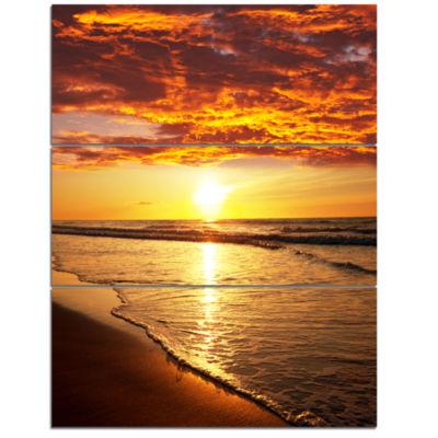 Designart Vibrant Yellow Sun And Calm Waves Seascape Triptych Canvas Art Print