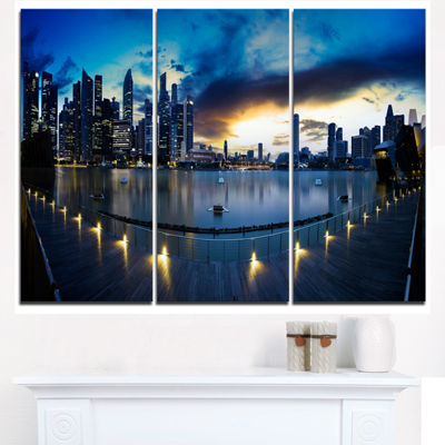 Designart View From Marina Bay Sands Panorama Cityscape Triptych Canvas Print