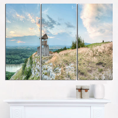 Designart View Tower On Hill Panorama Landscape Triptych Canvas Art Print