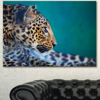 Designart Vigilant Leopard Close Up View Extra Large African Canvas Art Print - 3 Panels