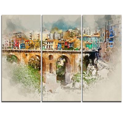 Designart Villajoyosa City Digital Art Bridge Cityscape Triptych Canvas Art Print