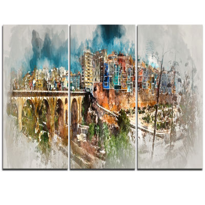 Designart Villajoyosa Town Digital Art Panorama Cityscape Triptych Canvas Art Print