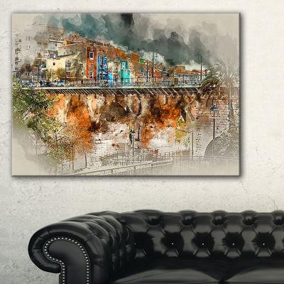 Designart Villajoyosa Town Digital Painting Cityscape Canvas Art Print
