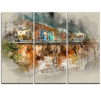 Designart Villajoyosa Town Digital Painting Cityscape Triptych Canvas Art Print