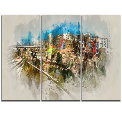 Designart Villajoyosa Town Watercolor Cityscape Triptych Canvas Art Print