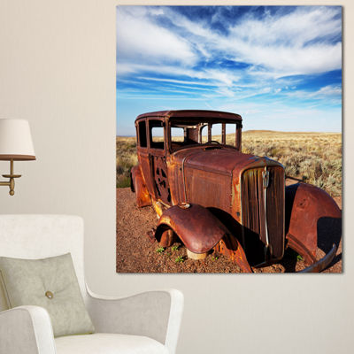 Designart Vintage Car Under Bright Blue Sky Abstract Canvas Artwork