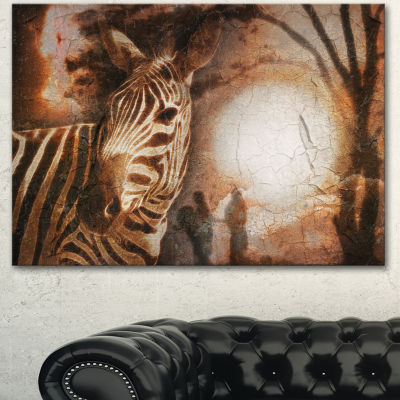 Designart Vintage Style African Zebra African Canvas Art Print - 3 Panels