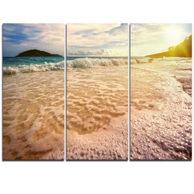 Design Art Vintage Style Beach At Similan Park Seashore Triptych Canvas Art Print