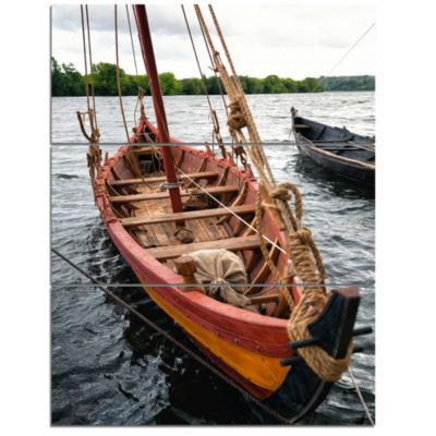 Designart Vintage Wooden Boat Seascape Triptych Canvas Art Print