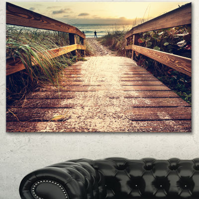 Designart Vintage Wooden Bridge To Seashore Seashore Canvas Art Print - 3 Panels