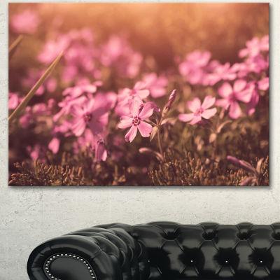 Designart Violet Flowers In Vintage Style Floral Canvas Art Print - 3 Panels