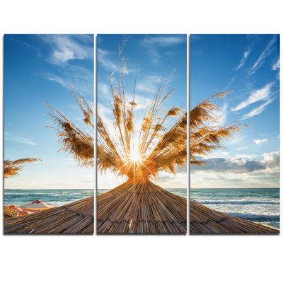 Designart Vivid Sunrise On Sandy Beach Seascape Triptych Canvas Art Print