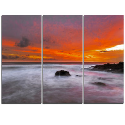 Designart Vividly Colorful Tropical Beach At Sunset Extra Large Seascape Art Triptych Canvas