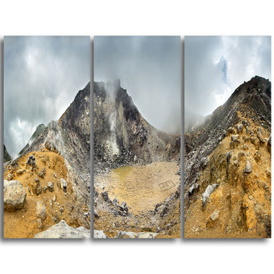 Designart Volcano Panorama With Dramatic Sky Landscape Triptych Canvas Art Print