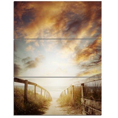 Designart Walkway Leading To Beach Scene Sea Bridge Triptych Canvas Art Print