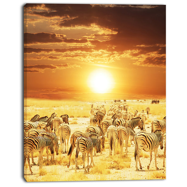 Designart Wandering Herd Of Zebra At Sunset ExtraLarge African Canvas Art Print