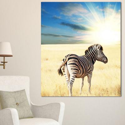 Designart Wandering Zebra At Bright Sunrise African Canvas Art Print