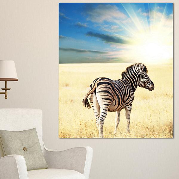 Designart Wandering Zebra At Bright Sunrise African Canvas Art Print ...
