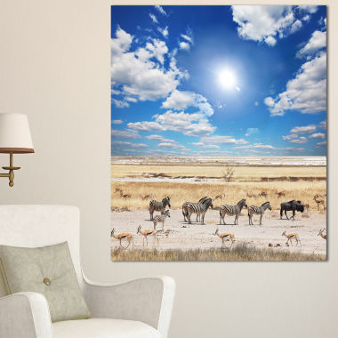 Designart Wandering Zebras Under Bright Sky Oversized Landscape Canvas Art