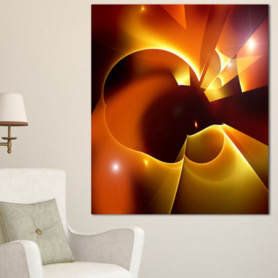 Designart Warm Yellow Red Fractal Design Large Abstract Canvas Art - 3 Panels