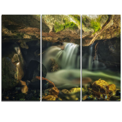 Designart Wasatch National Forest Waterfall Landscape Triptych Canvas Art Print