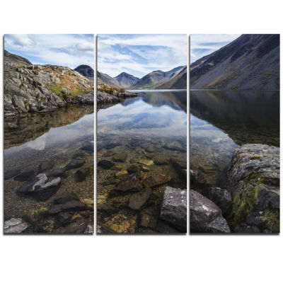 Designart Wast Water With Reflection In Lake Landscape Artwork Triptych Canvas